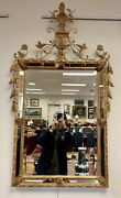 Magnificent Neoclassical Carved Tall Gold Wood Mirror Urn Motif Crest Giltwood
