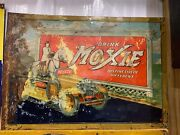 Vintage Rare Moxie Root Beer Metal Sign W/horse And Car Gas Oil Soda Cola