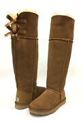 Rare Ugg Over The Knee Bailey Bow Boots -chestnut Sheepskin -us Size 7 -new