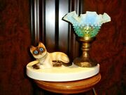 Fenton Kitty Lamp Blue Hobnail Opalescent Glass Shade, Vintage