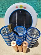 Solar Pool Ionizer- Led Upgrade - 3 Heavy 450g Anodes - 3 Baskets- Two Springs