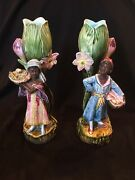 Pair Of Majolica Vases With Blackamoor Boy And Girl