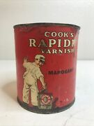 Vintage Cooks Rapidry Varnish Container Red Quart Can Paint Advertising