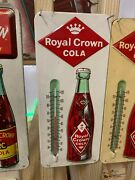 Vintage Royal Crown Rc Metal Thermometer Sign Embossed Bottle Minty-1960and039s