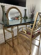 A Lion Empire Style Brass And Glass Desk