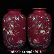A Pair China Qing Dynasty Carmine Flower And Bird Pattern Lantern Bottle