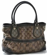 Authentic Gg Crystal Hand Bag Pvc Leather Brown B0432