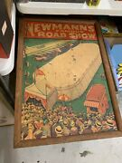Rare Vintage Newmannand039s Famous Road Show Auto Car Circus Carnival Poster Sign