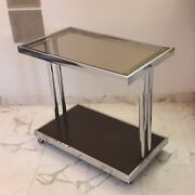1970s Italian Glass And Chrome Trolley Bar Cart Willy Rizzo Style Era