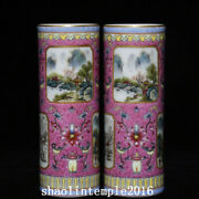 A Pair China Qing Dynasty Carmine Pastel Landscape Pattern Incense Cone