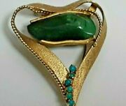 18k Gold Heart Design W/ 6 Turquoise Balls And Dark Oval Turquoise Brooch Pin