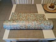 Giant Vtg Blue Silver Lily Of The Valley Floral Department Store Roll Gift Wrap
