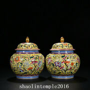 8.4 A Pair China Qing Dynasty Pastel Ganoderma Lucidum Flower Pattern Cover Can