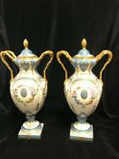 Pair Of Pretty Hand Painted Porcelain French Urns With Handles - 20th Century. M