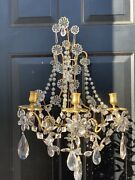 Antique Pair Maison Bagues French Crystal Beaded Candelabra Wall Sconces