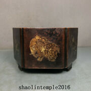 China Ming Dynasty Red Copper Gilding Animal Pattern Hexagonal Furnace