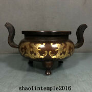 Old China Ming Dynasty Red Copper Gilding Dragon Pattern Flat Ear Furnace