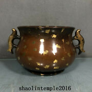 Ancient China The Ming Dynasty Red Copper A Touch Of Gold Fish Ear Stove