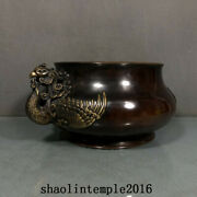 6.6 China Antique The Ming Dynasty Red Copper Gilding Phoenix Ear Furnace