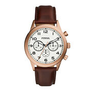 Fossil Flynn Pilot Chronograph Analog Rose Gold Brown Leather Watch - Bq2374
