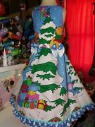 Winnie The Pooh And Friends Christmas Vintage Fabric New Dress Size 8/9 Girl