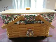 Longaberger Classic Large Market Basket Set With Lid And Two Liners