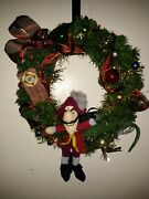 Captain Hook Disney Christmas Wreath Decorations With Multi Lights 14 Inch Ooak