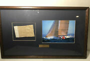 Americas Cup 1992 America 3 Authentic Frame Photo W Piece Of Mainsail Cert.