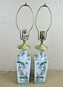 Matching Pair Antique Famille Rose Porcelain Birds And Flowers Square Vase Lamps