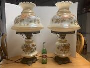 Pair Vintage 1971 Victorian Style Pink Yellow Roses Gwtw Hurricane Lamp 26