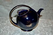 Vintage Hall Pottery 6 Cup Deco Airflow Ball Teapot Navy Blue W/ Gold Floral