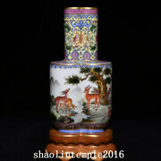 China The Qing Dynasty Qianlong Pastel Pine Deer Pattern Conjoined Bottle