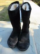 Uggs Black Leather 13.5 High Boots/ Round Toe/ Lining/ Side Zipper Size 8