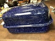"""Enamel Baking Roasting Pan 11""""x 15""""rectangle Blue And White Speckled"""