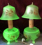 Two Three Piece Uranium Glass Boudoir Lamps Maker Unknown Very Rare Lamps