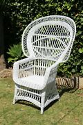 1970s Vintage French White Peacock Wicker Chair Boho Chic