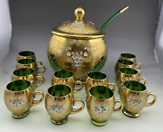 Gorgeous Rare Venetian Murano Glass And 24k Gold Leaf Punch Bowl And 12 Cups