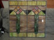 Antique Mission Style Stained Glass Leaded Glass Inserts 24 X 24