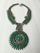 Victor Moses Begay Navajo Vintage Sterling Silver And Turquoise Cluster Necklace