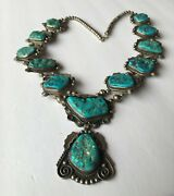 Spectacular Vintage Navajo Sterling Silver And Turquoise Huge Pendant Necklace H