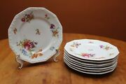 Rosenthal Maria Stamp Flowers Eight 9.625 Dinner Plates 1957-1959 Gently Used