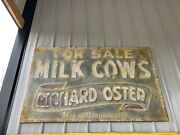 Large Milk Cows Embossed Sign Farm Feed Seed