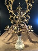 Antique Gilt Metal Toleware And White Carrera Marble Italian Table Candleabra