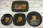 4 Vintage Couroc Of Monterey Tray Dishes Bowl Fish House Market Beach Hawaii