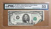 1977 5 Federal Reserve ♚♚ Printed Fold Error Note ♚♚ Pmg About Uncirculated 53