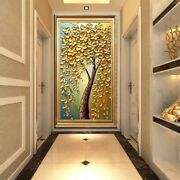 3d Golden Tree Flower Oil Painting Wall Art Vertical Canvas Picture Living Decor