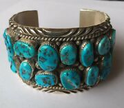 Howard S. Begay Navajo Vintage Sterling Silver And Turquoise Cuff Bracelet Wid