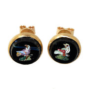 3082 19th Century Micromosaic Button Earrings Roma