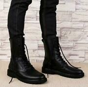 Mens Punk Leather Military Ankle Boots Lace Up Gothic Combat Ankle Shoes