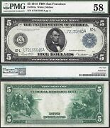 5 1914 Frn=philadelphia=fr 834a=red Seal=pmg Choice About Uncirculated 58